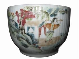 图3 晚清细路粉彩精品人物苏小妹瓷碗