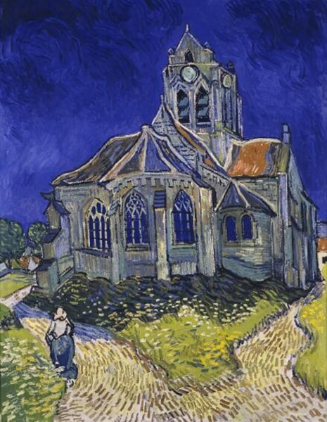 梵高《奥维尔教堂》中的教堂也被风雨破坏