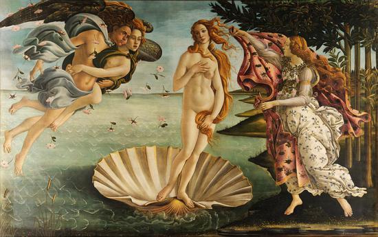 波提切利《维纳斯的诞生》,藏于乌菲茨美术馆