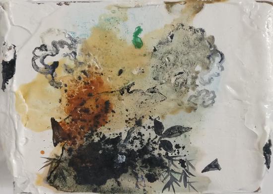 32-陈亚峰《竹》纸盒油画, 2016