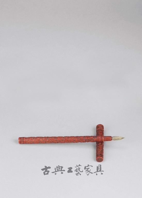 明 剔红诗文毛笔