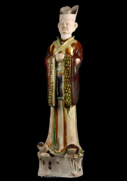 三彩文官俑 约公元730年