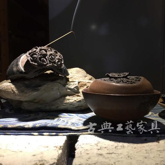 一渌再造作品:莲花香插和盖碗