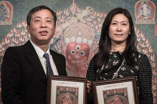 2014年,刘益谦以3.48亿港元拍到《永乐御制红阎摩敌刺绣唐卡》