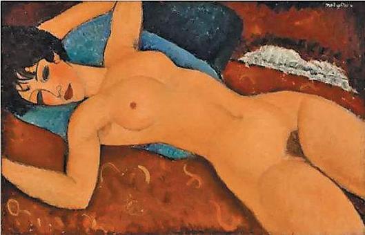莫迪利亚尼作品《侧卧的裸女》