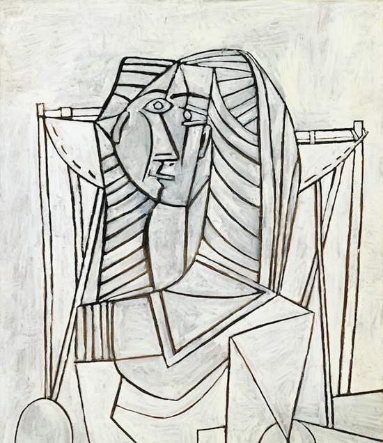 毕加索《白色背景扶手椅上的女子坐像》,成交价:1.0亿人民币