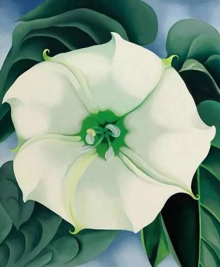 2014年,女性艺术家乔治亚·欧姬芙(1887-1986)名作《曼陀罗 白花1号》
