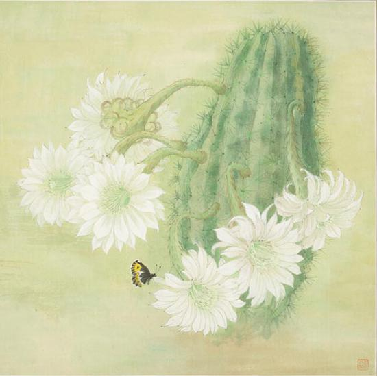 仙人掌 ,常沙娜 ,2005 ,45.5×45.5cm