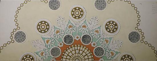 人大会堂宴会厅天顶装饰设计彩色设置效果图,常沙娜 ,38.5×103cm