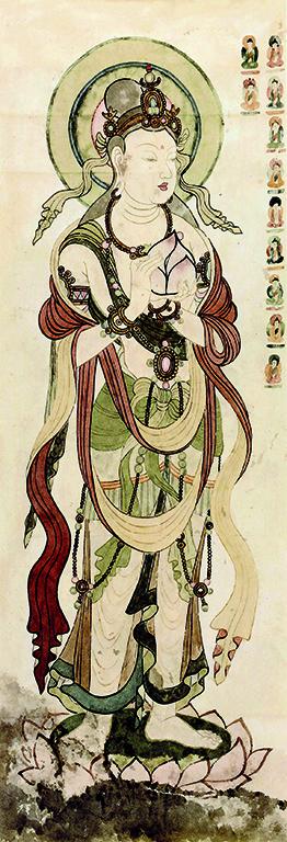 敦煌莫高窟壁画彩稿, 捧莲花大士,20世纪50年代绘,张大千编号第105窟,现第46窟,尺寸49x134厘米。罗寄梅夫妇主持临摹。