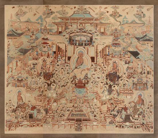 观无量寿经变(盛唐172窟),常沙娜,1946 ,272×300.5cm