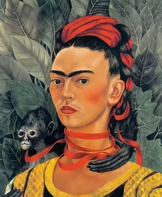 弗里达·卡罗《自画像与猴子》