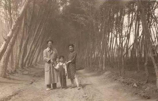 常沙娜与爸爸常书鸿、弟弟常嘉陵在莫高窟的林荫路上