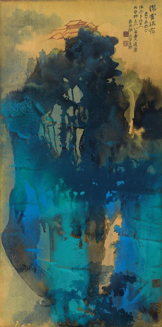张大千 《��霍瑞霭》,1967 年作,泼墨泼彩金笺,镜框,128.2 x 63.5 公分,估价待询