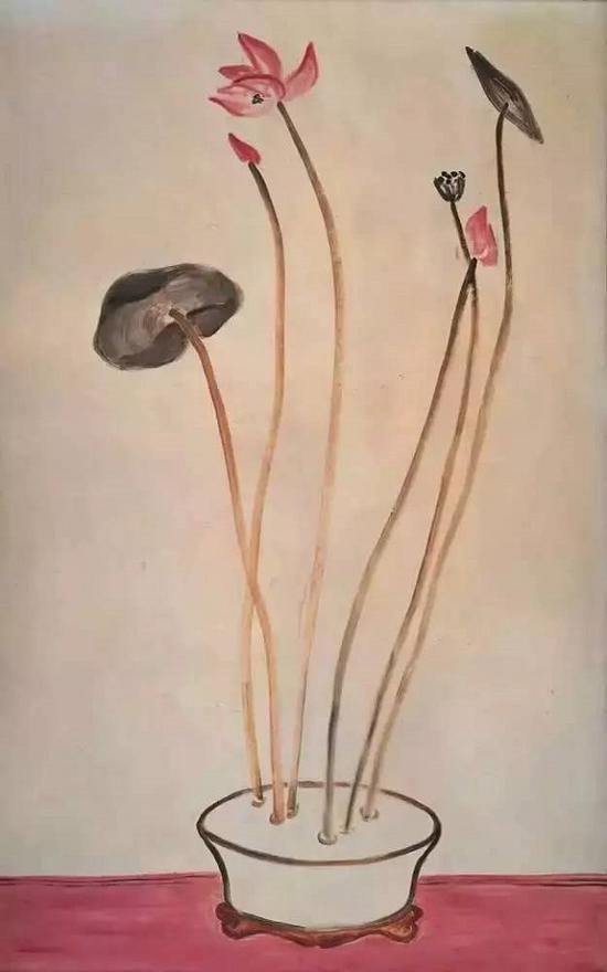 常玉,粉莲盆景(花中君子),1940年代