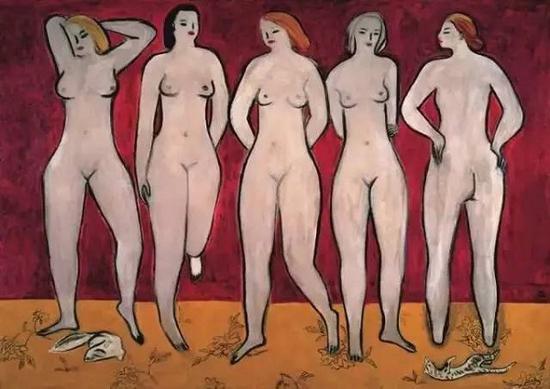 常玉,五裸女,1950年代。该作品在罗芙奥香港2011年春拍中亮相,并以1.3亿港元成交
