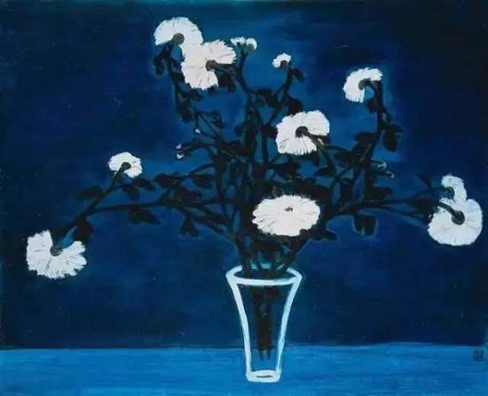 """常玉,菊花与玻璃瓶,1950年代。该作品于2015年佳士得""""亚洲二十世纪艺术及当代艺术""""夜场拍卖以8188万港元成交"""