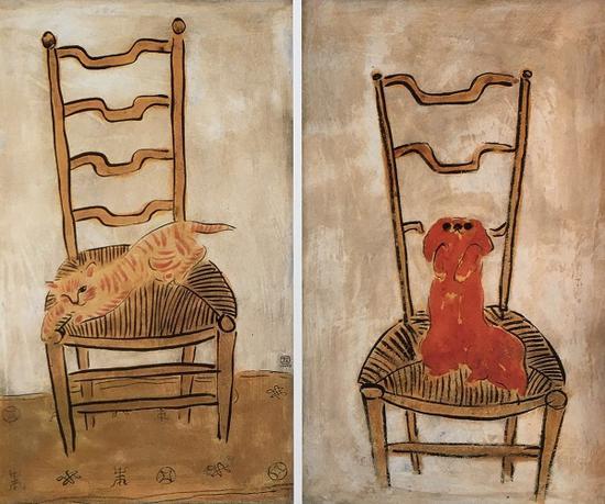 常玉,椅子上的猫(左),椅子上的北京狗(右),1930年代