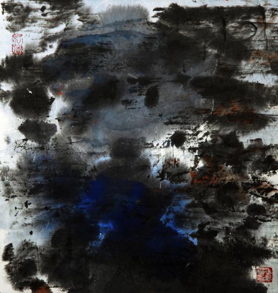张新建,长湖魅影,2001,纸本彩墨,35x35,黑框79x79