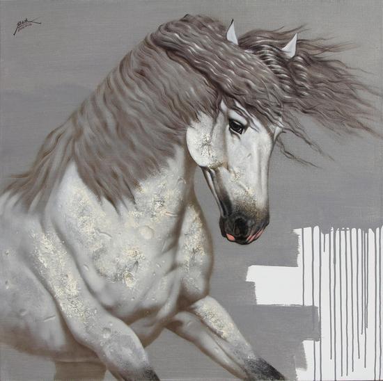 《沐风》布面油画100x100cm2016年