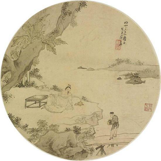 苏六朋 人物 扇面 设色绢本 D:26cm