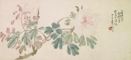 陈树人 花卉 镜片 设色纸本 27.5×61cm