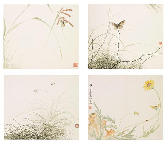 赵浩公 花卉草虫十二开(选四开) 册页 设色纸本 26×30cm×12