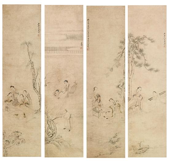 改琦 人物四屏 立轴 设色纸本 143×36cm×4