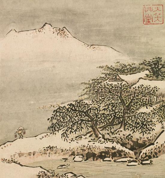 吴灏 山水 镜片 设色纸本 26.5×25cm