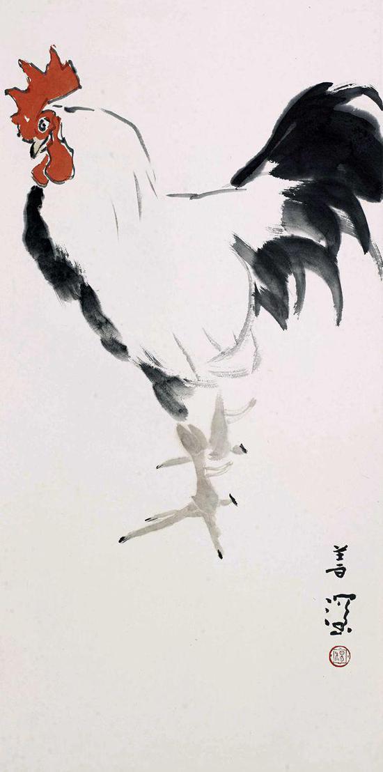 杨善深 雄鸡 立轴 设色纸本 68.5×34cm