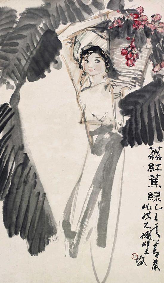 林墉 荔红蕉绿 镜片 设色纸本 67×38.5cm