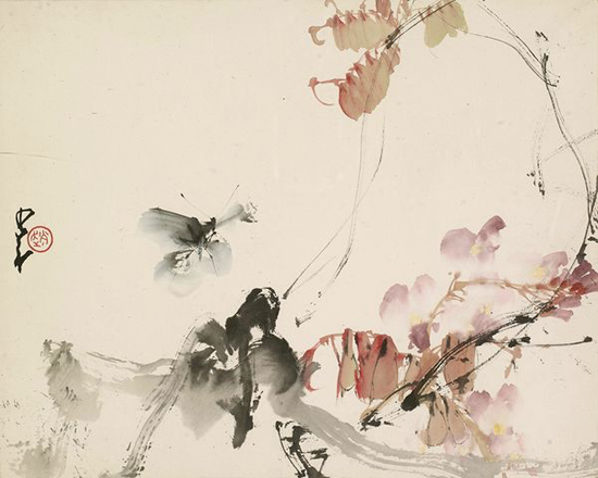 赵少昂 蝴蝶 镜框 设色纸本 31×37cm