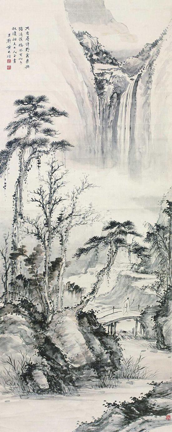黄君璧 探幽图 镜框 水墨绢本 128×51cm