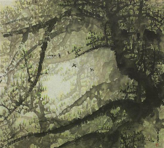 陈金章春雨 立轴 设色纸本 47.5×53cm