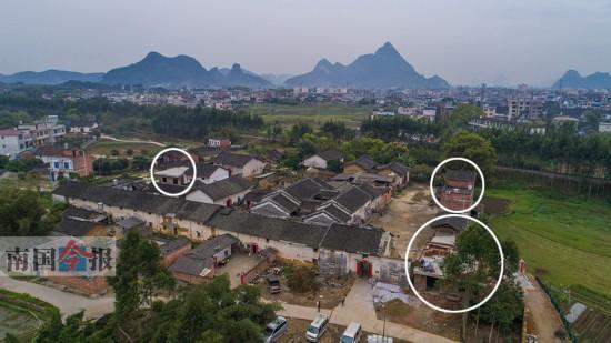 航拍发现,柳城县东泉镇黄家大院虽基本保存完好,但大院内新建三处红砖房(画圈处),显得十分突兀,破坏大院原貌。