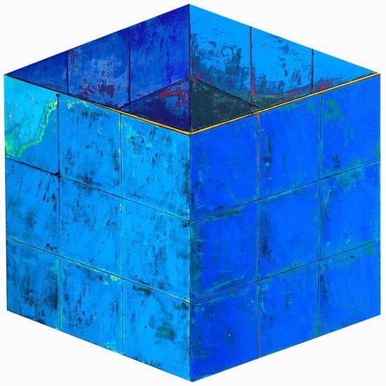 杜飞辰作品 蓝色,156x158cm,2016,坦培拉综合材料