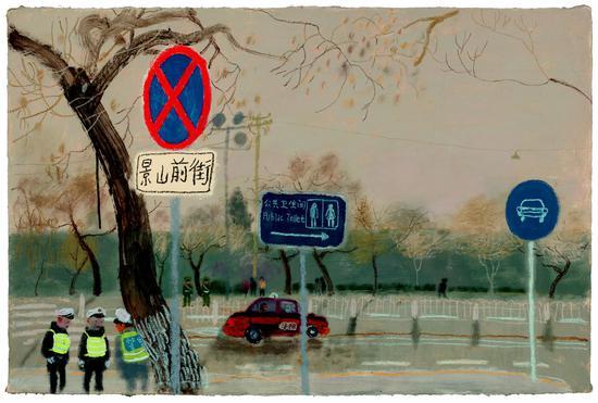 景山前街-10  62.5x94.5cm 纸本丙烯、油画棒 2017王玉平