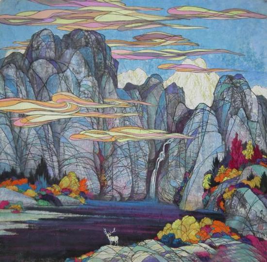 斗方 《秋之韵》 100x100 1992