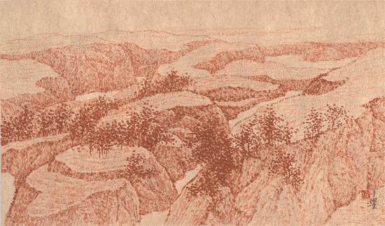 晋中写生之六 纸本水墨 34x60cm 2016年