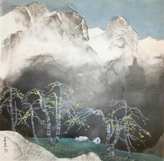 《秋色白牦牛》 66x66 2007