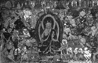 下图为莫高窟第254窟《降魔成道》壁画,上图为陈琦根据壁画绘制的线描画。