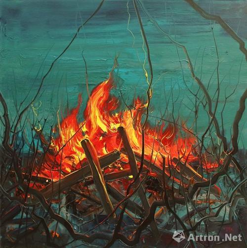 曾梵志《火》180x180cm 2017 布面油画  成交价:700万
