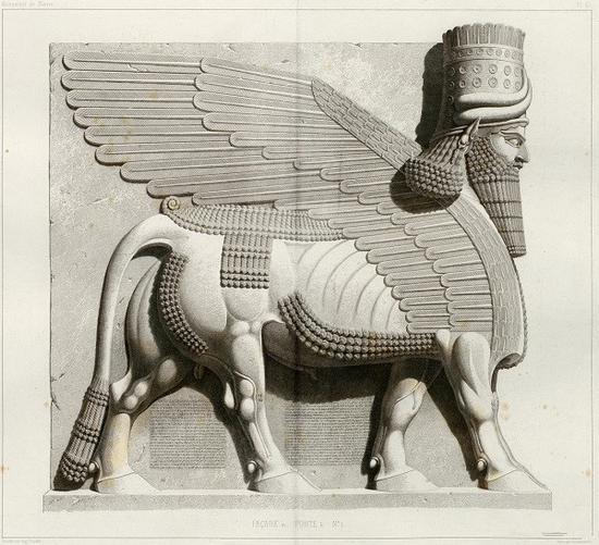 19世纪学者绘制的考古发现的尼尼微的守护神人首双翼牛神