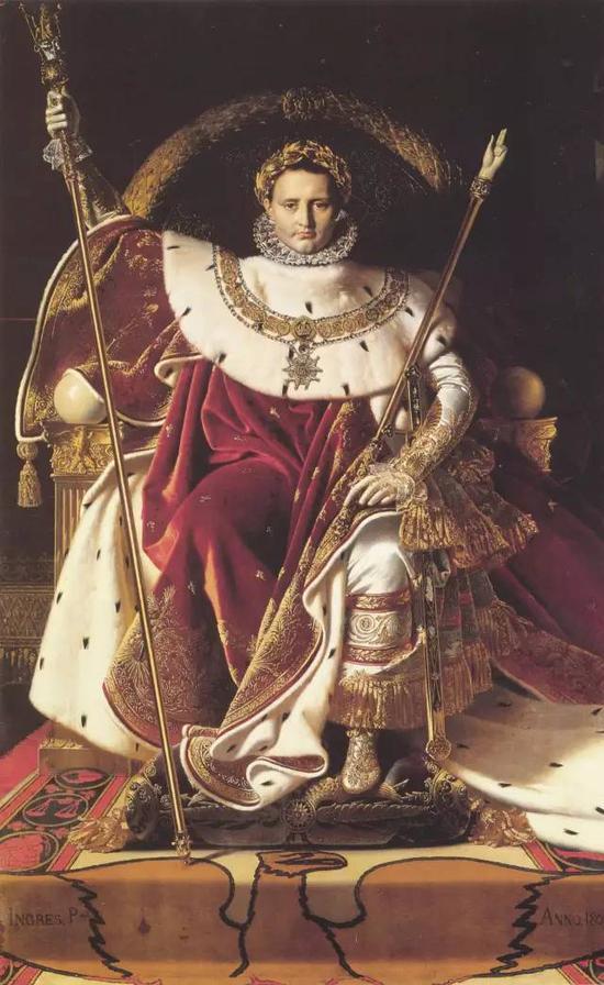 《王座上的拿破仑一世》,布面油画,259x162cm,1806