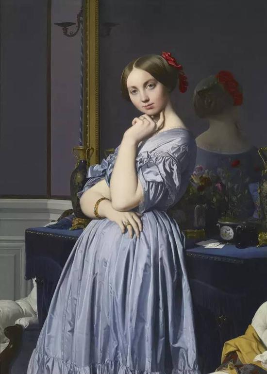 《路易斯-奥松维尔伯爵夫人》,布面油画,131.8 x 92 cm,1845