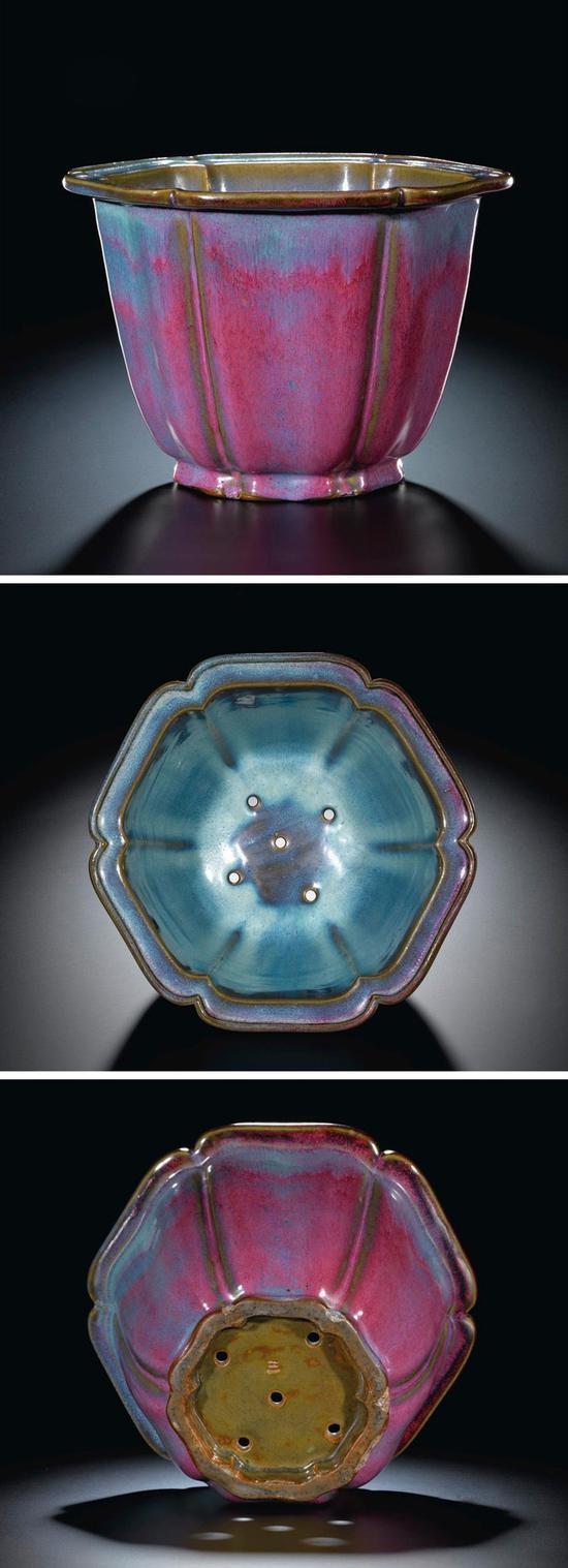 【宋】钧窑天蓝玫瑰紫釉棱口花盆
