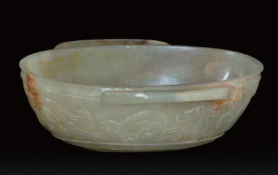 汉代  青玉螭纹耳杯