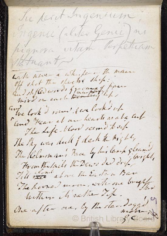 柯勒律治——《古舟子咏》手稿(大英图书馆供图)