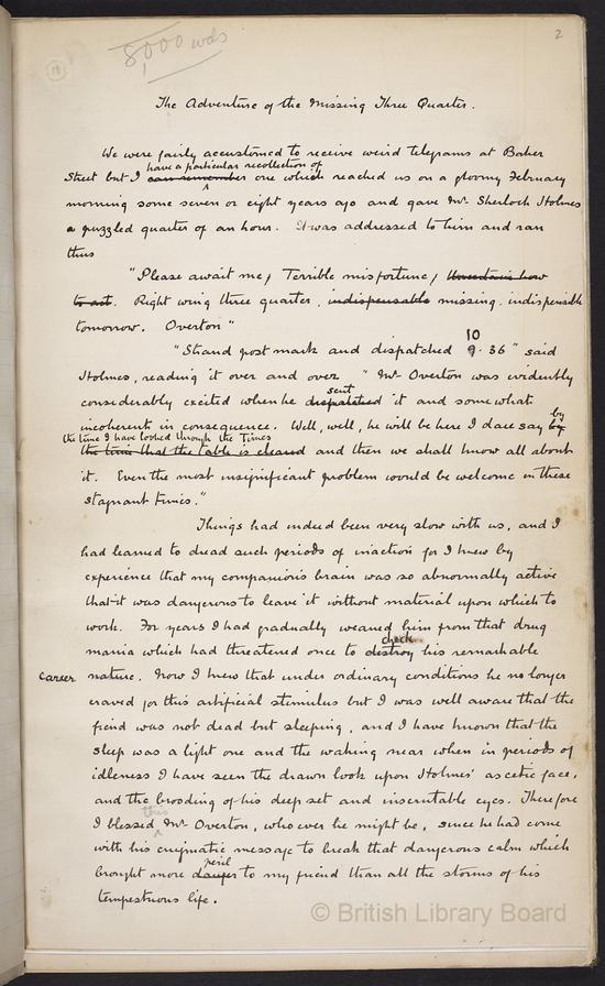 阿瑟·柯南·道尔——《失踪的中卫》手稿(大英图书馆供图)