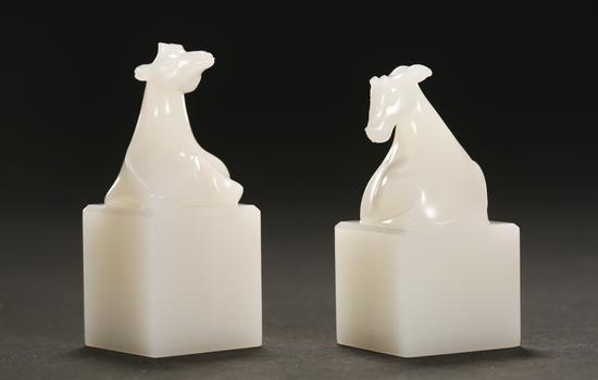 葛洪 和田玉天禄印章一对 《斯文在兹》 苏州玉雕名家作品联展作品